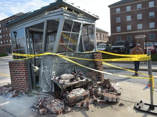 A York College guard shack demolished after a hit-and-run
