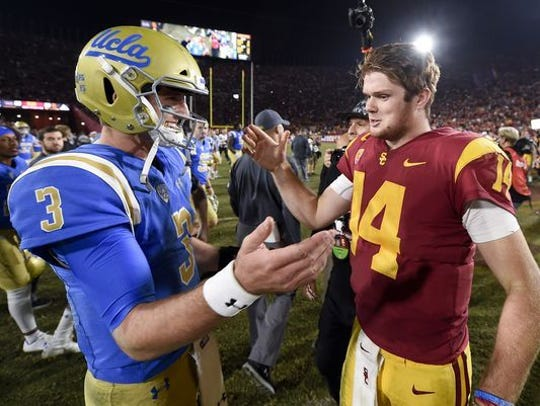 USC's Sam Darnold (right) and UCLA's Josh Rosen (left)