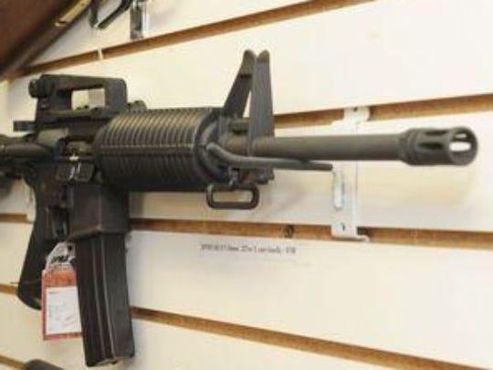 An AR-15 semiautomatic rifle.