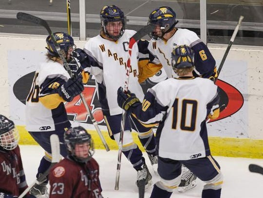 Wausau West players celebrate a goal during the boys state hockey tournament in 2014. West fell in the sectional semifinals this year but has advanced to at least the state quarterfinals seven times since 2010.