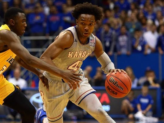 Devonte' Graham is a senior point guard and Naismith Trophy finalist for Kansas.