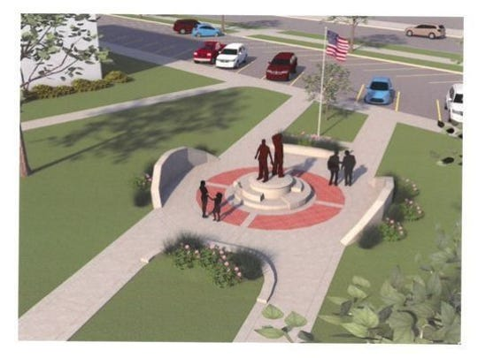 A memorial honoring fallen Wichita County officers and rural firefighters will be placed in front of the new county law enforcement center. A landscaping design plan shows the statue on the front lawn, toward the south corner of the structure.