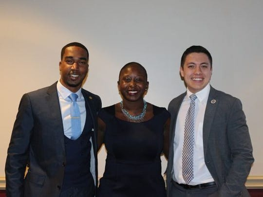 Brandon Brown (left), Stacey Pierre (middle) and Omar Pimental (right) were sworn in, respectively, as vice president, president and treasurer.