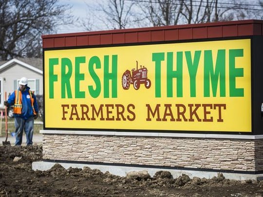 Sign in front of the new Fresh Thyme store in Muncie.