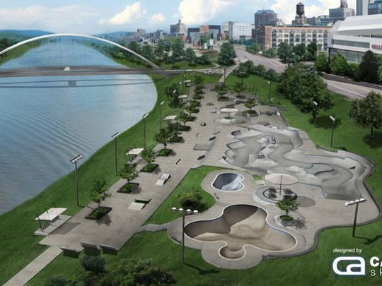 A rendering of the Lauridsen Skatepark in downtown Des Moines.