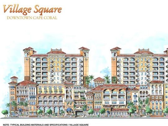 A rendering of the Village Square project. Developer