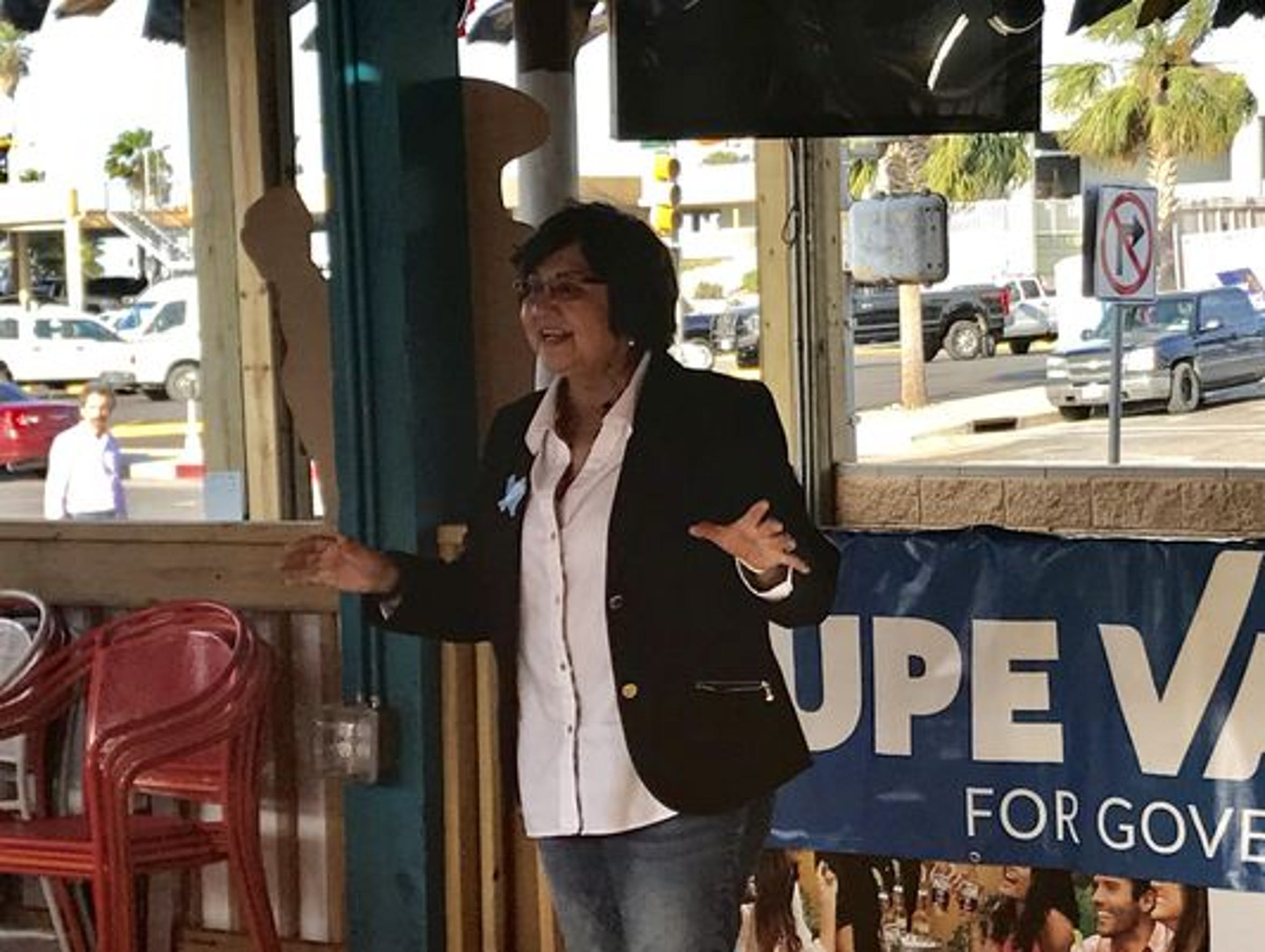 Democrat Lupe Valdez at a campaign stop in Corpus Christi