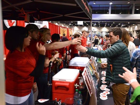 Attendees sample brews at Cincy Winter Beerfest.