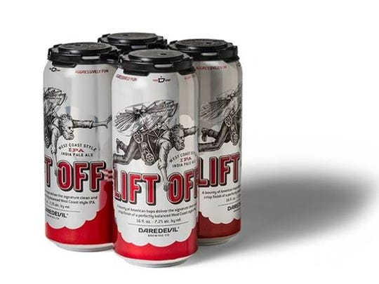 A 4-pack of Lift Off IPA cans from Daredevil Brewing Co. in Speedway.