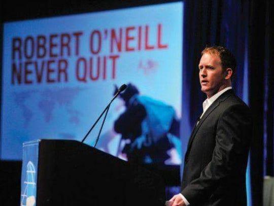 Navy SEAL Rob O'Neill talks at the Greater Green Bay