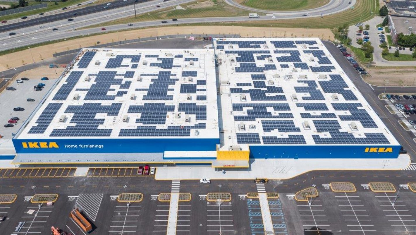 Newly assembled roof of ikea in fishers is decked with for Stores like ikea in hawaii