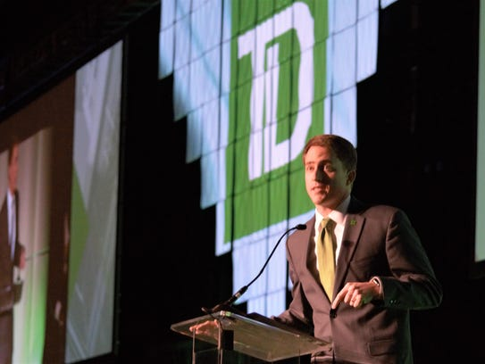 TD Bank regional vice president Cal Hurst speaks at