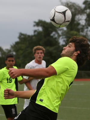 Lakeland's Arben Hoxhaj (10) controls a pass from a teammate during game against Somers at Somers High School Sept. 28, 2016. Hoxhaj scored the game winning goal in overtime to give Lakeland a 2-1 victory.