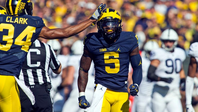 Michigan returner Jabrill Peppers celebrates a 53-yard punt return against Penn State at Michigan Stadium in Ann Arbor on Saturday, Sept. 24, 2016.