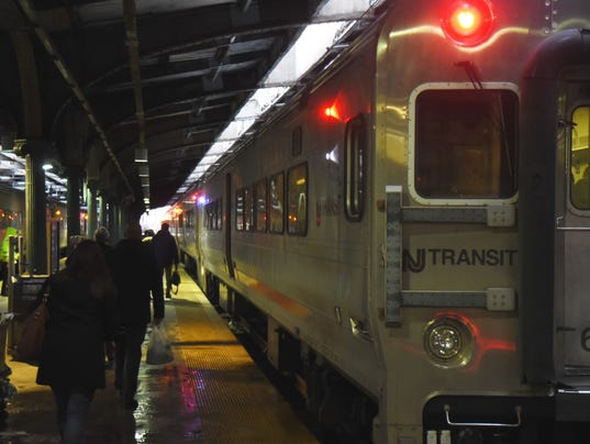 NJ Transit trains about to leave from teh station in Hoboken.