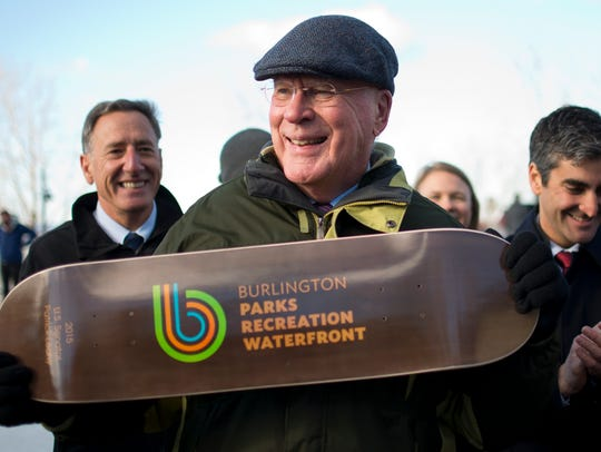 Sen. Patrick Leahy (D-VT) holds up a skateboard at