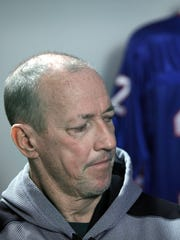 Buffalo Bills legend Jim Kelly during and interview with reporter Sal Maiorana in September.