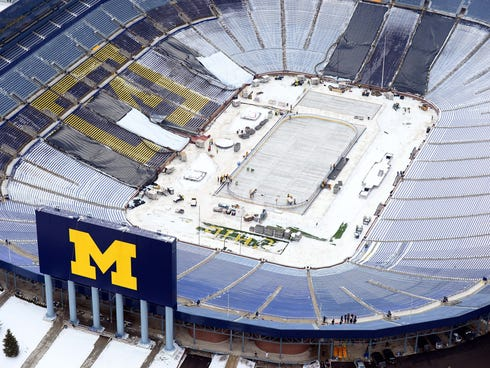 An aerial view of the ice surface to be used at Michigan Stadium for the 2014 Winter Classic.
