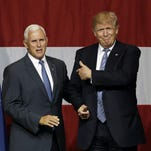 Michael Conroy/ APIndiana Gov. Mike Pence joins Republican presidential candidate Donald Trump at a rally Tuesday in Westfield, Indiana. Sources say Trump has chosen Pence as his running mate. Indiana Gov. Mike Pence joins Republican presidential candidate Donald Trump at a rally in Westfield, Ind., Tuesday, July 12, 2016. (AP Photo/Michael Conroy)