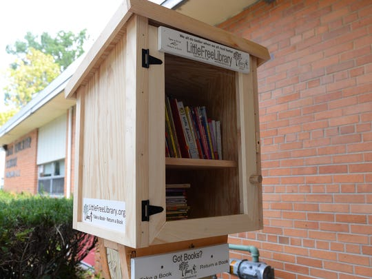 The Little Free Library at Leuchter School in Vineland welcomes all from the community to borrow -- and leave -- books.