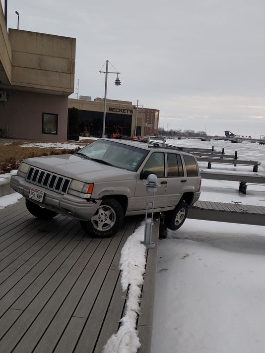 Jeep on river walk