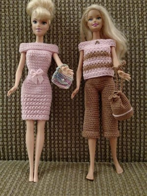 Crocheted doll clothes by Even Rows.