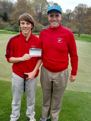 Lenape Valley sophomore Jack Van Dyke displays his scorecard after shooting a hole-in-one on Wednesday.