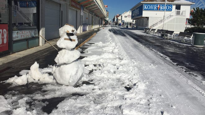 A snowman is seen near the south end of the Boardwalk in Ocean City.