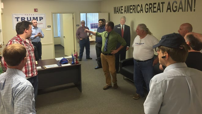 Donald Trump supporters gather at his Tallahassee office, which opened Monday.