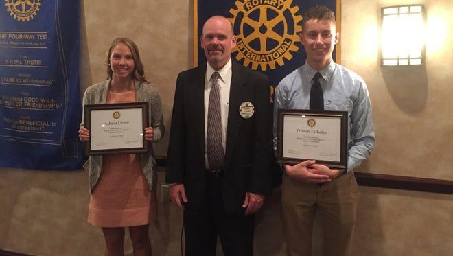 Ashton Grove, President of Chambersburg Rotary Club Michael Connor, Tristan Talhelm