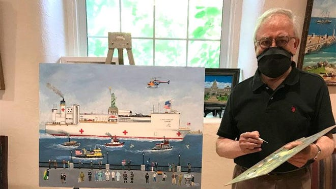 """Juan Espino, owner of Looking Glass Gallery in Hawley, with his painting, """"Beacon of Hope."""" The artwork will be part of an international, virtual art exhibit on theme of the influence of the COVID-19 pandemic. The exhibit is being hosted by The Musee D'Art Naif De Magog in Quebec."""
