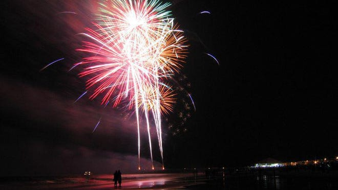 A fireworks show on Tybee Island lights up the sky on July 4th, 2019.