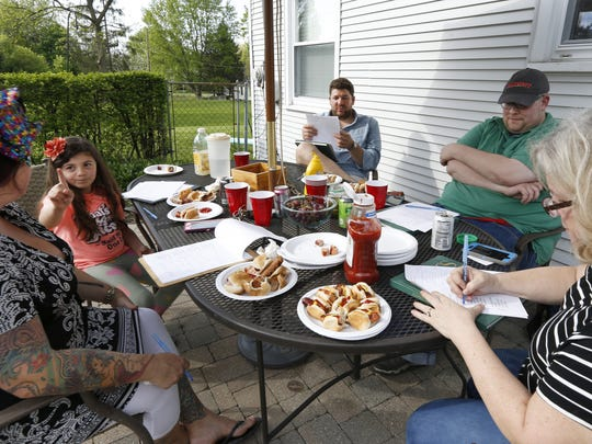 The hot dog taste test judges were (left to right): chef Kimberly Roth, Apolonnia Veras, Marty O'Sullivan, Will Cleveland and Tracy Schuhmacher.