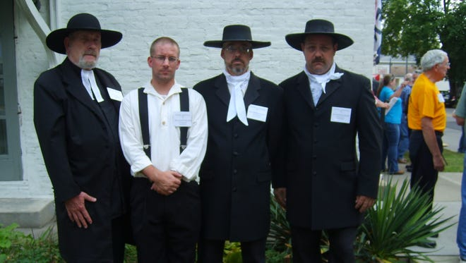 Re-enactors Joseph Fields, Dan Shaver, Kris Turner and Jack Bodiker portray Wayne County's four representatives to the 1816 Indiana Constitutional Convention in Corydon.