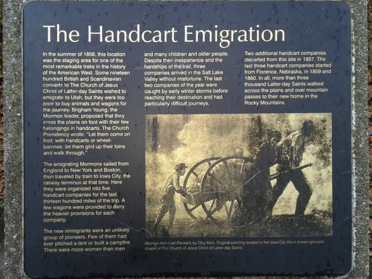 This plaque summarizing the Mormon handcart trek of