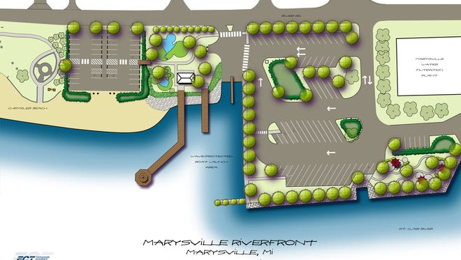 A drawing shows some of the improvements planned at Marysville's Chrysler Beach.