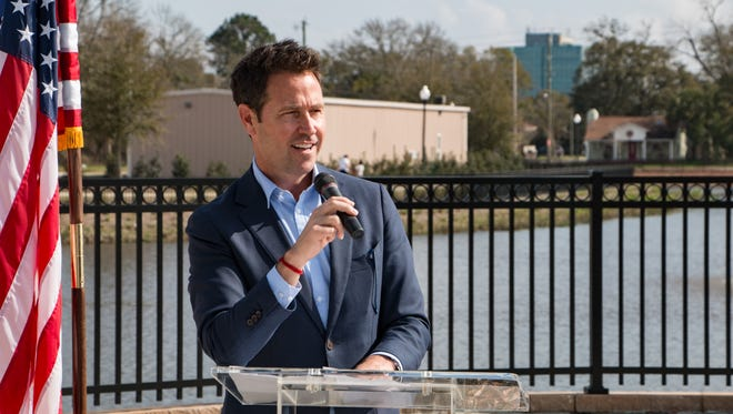 Pensacola Mayor Ashton Hayward spoke at the Government Street Regional Stormwater Pond at Corinne Jones Park ribbon cutting ceremony on Saturday, Feb. 13, 2018.