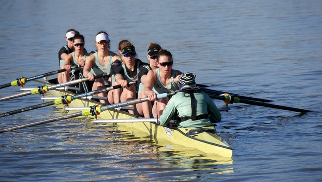 Olivia Coffey, second from the front, is competing for the Cambridge University Women's Boat Club while she pursues her MBA at Cambridge.