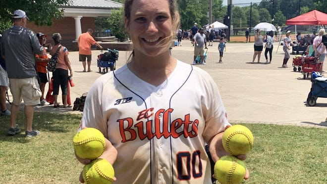 Kendall Wells is a rising eighth-grader at Malcom Bridge Middle School. She has hit eight home runs, including four last weekend, for her travel softball team EC Bullets-Maher