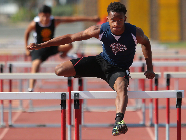 La Quinta's Galen Swearingen won the 110m hurdles on Thursday in Palm Desert.