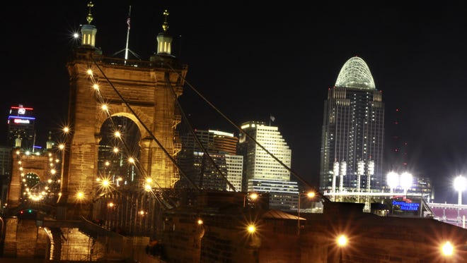 The lights on the John A. Roebling Suspension Bridge were turned on the night of Nov. 8, 2010.