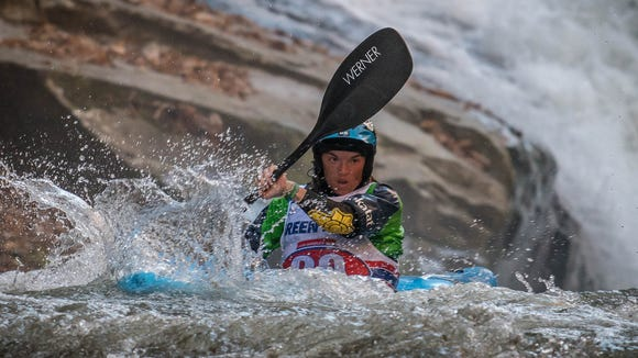 Adrienne Levknecht, of Greenville, S.C., seen here in 2017 at the Green River Narrows Race, took her 10th win Nov. 2, 2019.