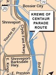 Krewe of Centaur parade route.