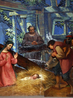 A nativity scene represents the holiday season.