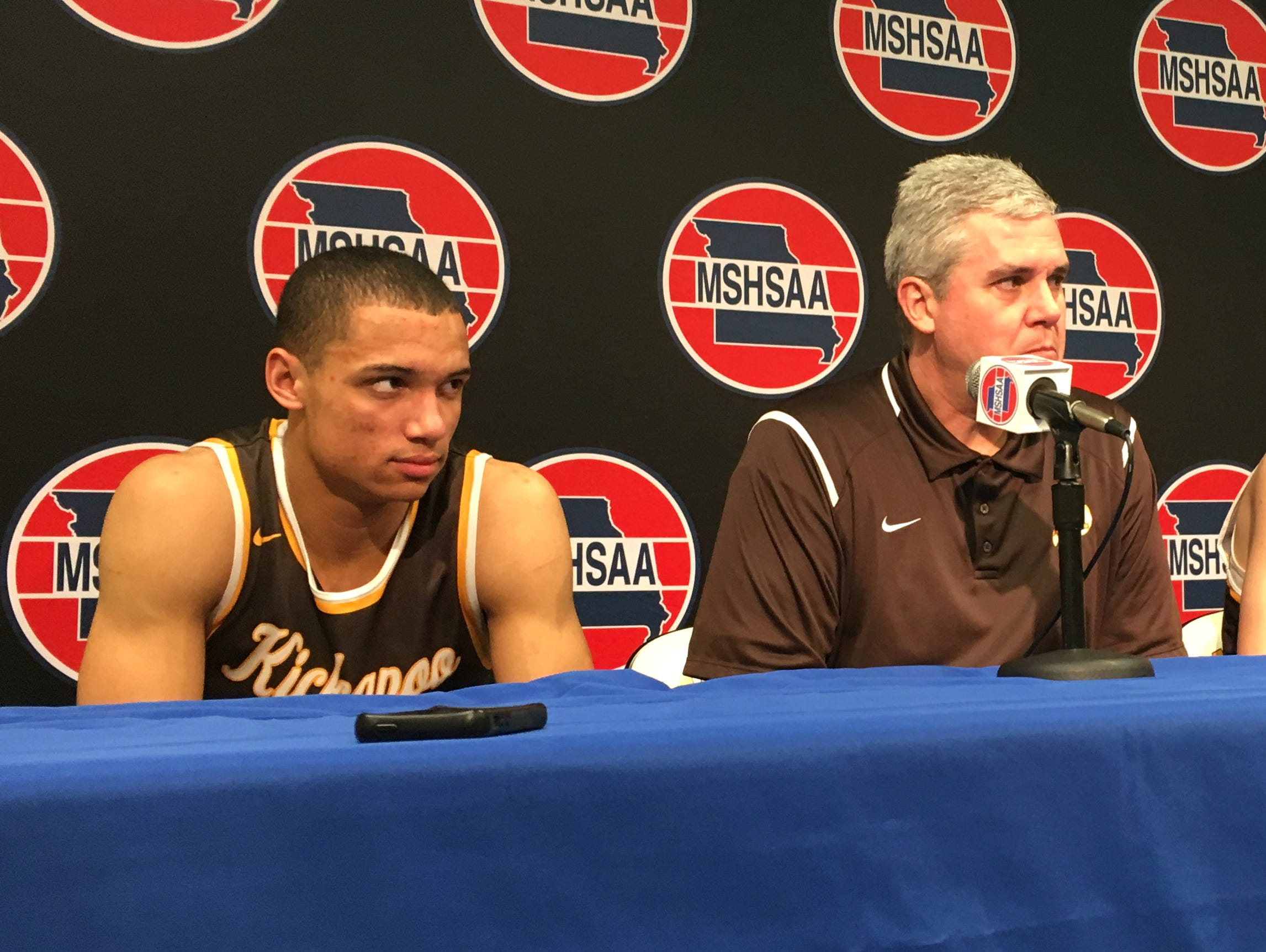 Kickapoo senior Cameron Davis, coach Dick Rippee and senior Jared Ridder field questions in the media room at Mizzou Arena following a 58-57 loss to Webster Groves in the 2017 Class 5 boys basketball playoff semifinals on March 17, 2017.