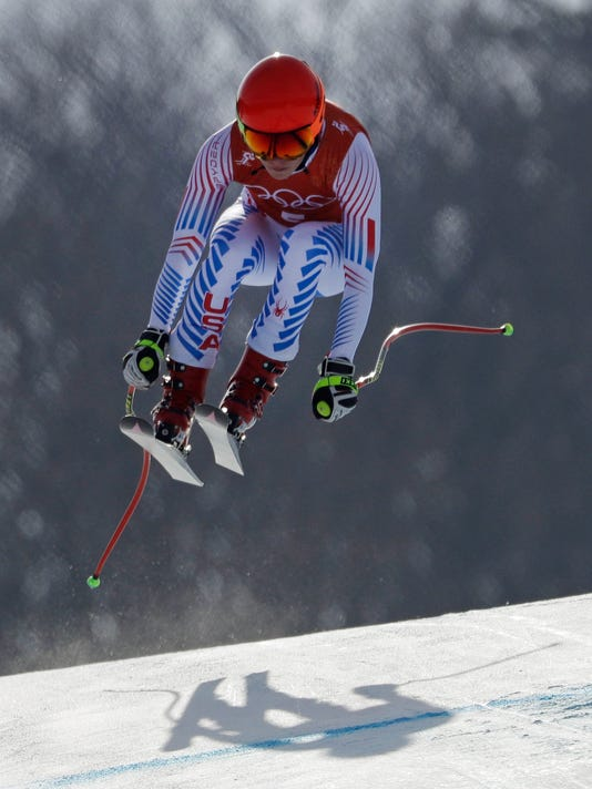 United States' Mikaela Shiffrin races in women's downhill training at the 2018 Winter Olympics in Jeongseon, South Korea, Monday, Feb. 19, 2018. (AP Photo/Luca Bruno)