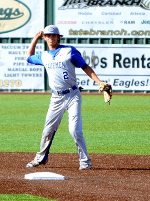 Carlsbad's Ryan Razo gets a putout in game one Friday at Hobbs.