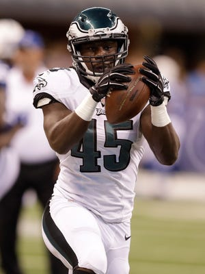 Philadelphia Eagles linebacker Myke Tavarres (45) before an NFL preseason football game against the Indianapolis Colts in Indianapolis, Saturday, Aug. 27, 2016.
