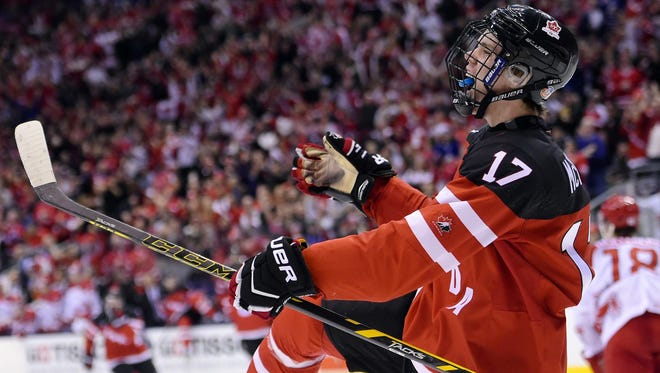 Canada's Connor McDavid, celebrating his goal against Denmark at the world junior hockey championships in Toronto in January, is expected to be the No. 1 selection by the Edmonton Oilers in Friday night's NHL Draft.