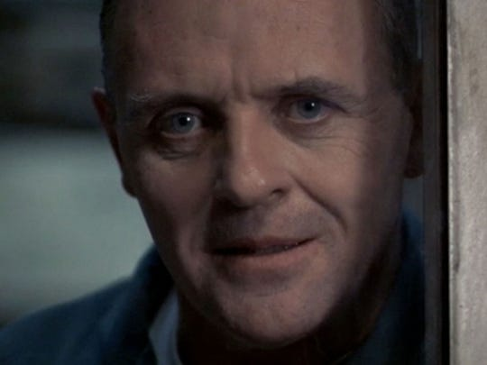 """This undated handout photo provided byMGM Home Entertainment and the Library of Congress shows Anthony Hopkins as Dr. Hannibal """"The Cannibal"""" Lecter in the 1991 film """"Silence of the Lambs."""" Bambi, Forrest Gump and Hannibal Lecter have at least one thing in common: Their cinematic adventures were chosen by the Library of Congress to be preserved in the world's largest archive of film, TV and sound recordings. (AP Photo/MGM Home Entertainment, Library of Congress)"""